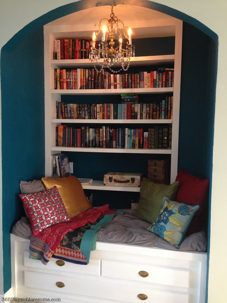 Reading Nook with Kantha Blanket and Pillows. Nearly done...