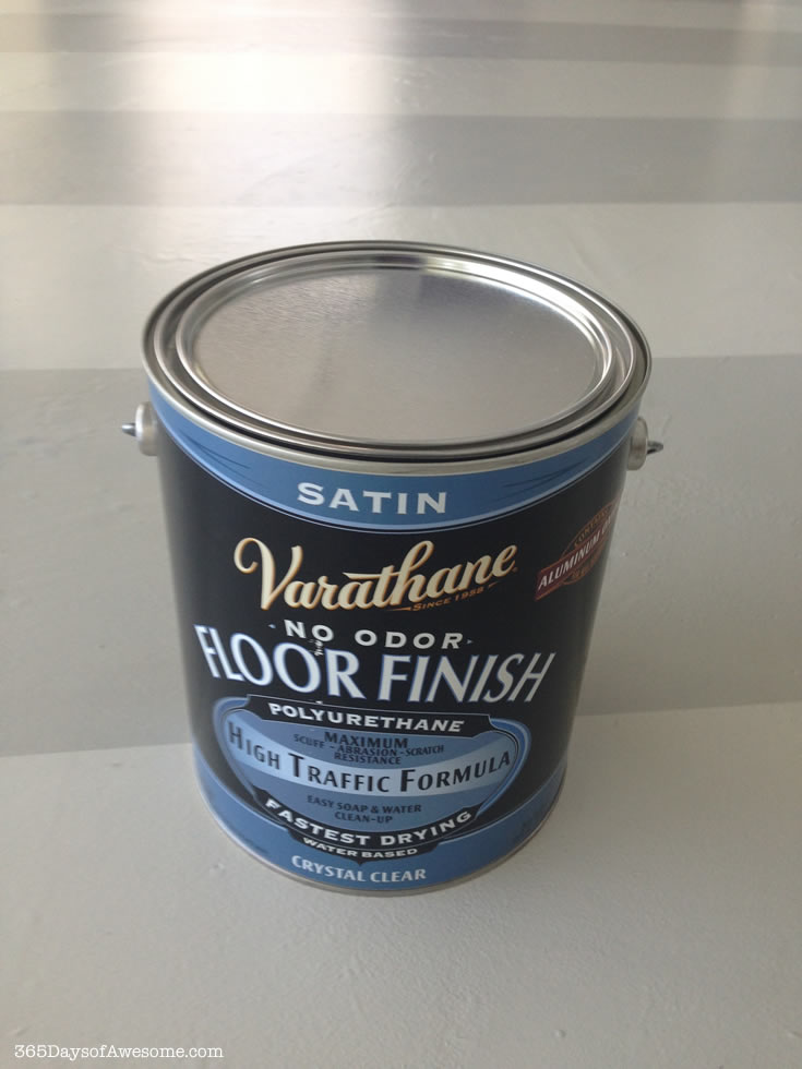 We sealed the floors with Varathane No Odor Floor Finish, High Traffic Formula in Satin. Perfect coverage!